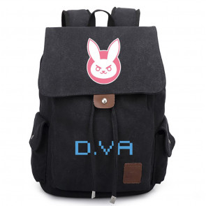 Overwatch DVA Black Canvas Backpack Schoolbag Rucksack