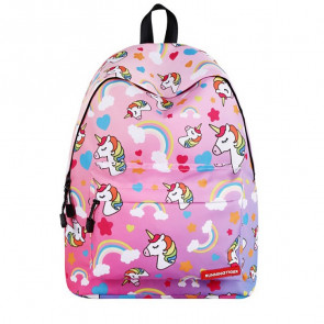 Hearts Rainbows Unicorns Durable Backpack Schoolbag Rucksack