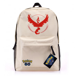 Pokemon Go White Canvas Backpack - Team Valor Red
