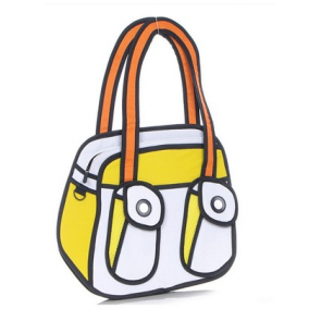 Jump From Paper Cute 2D 3D Effect Two Pockets Shoulder Bag
